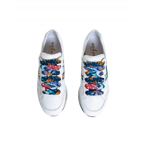 Achat White sneakers with multicolor decorations 222 Hogan for women - Jacques-loup