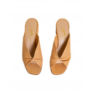 Camel colored draped mules Jacques Loup for women