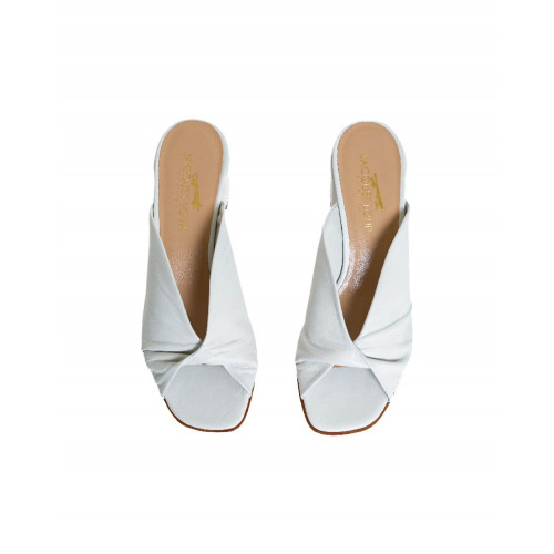 Cream colored draped mules Jacques Loup for women
