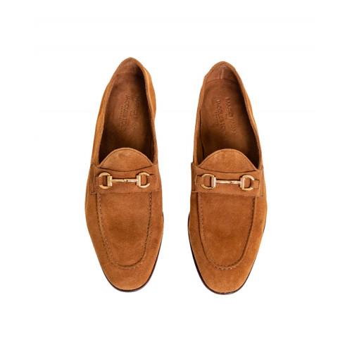 Brown moccasins with metallic bit Jacques Loup for men