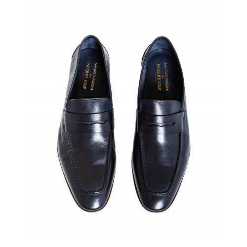 Navy blue moccasins Jacques Loup for men
