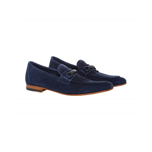 Achat Navy blue moccasins with rubber bit Jacques Loup for men - Jacques-loup