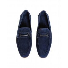 Navy blue moccasins with rubber bit Jacques Loup for men