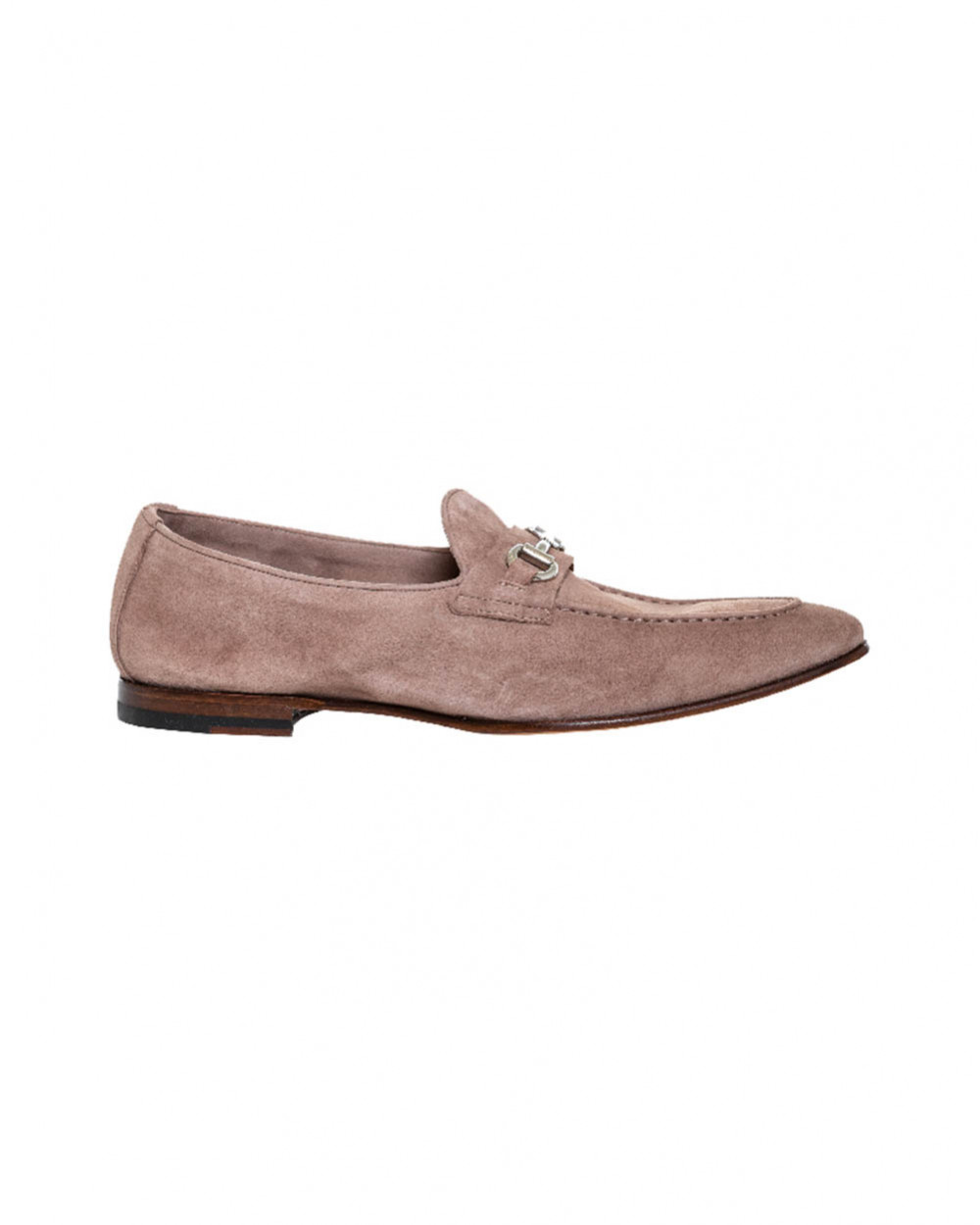 Beige moccasins with silver metallic bit Jacques Loup for men