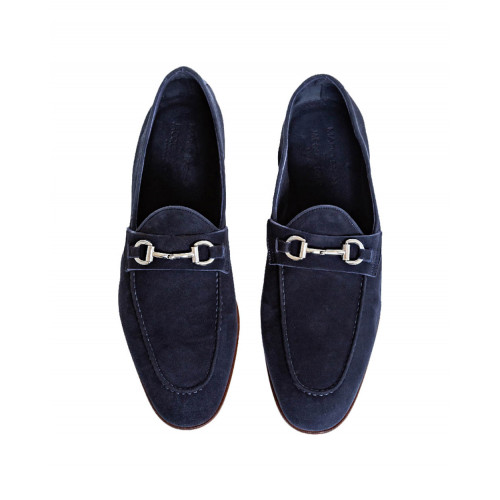 Navy blue moccasins with silver metallic bit Jacques Loup for men