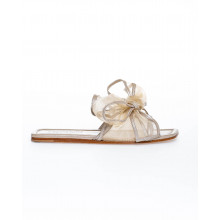 Light golden mules Jacques Loup with large knot for women