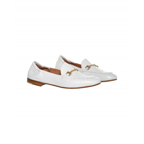 White moccasins with metallic bit Mara Bini for women