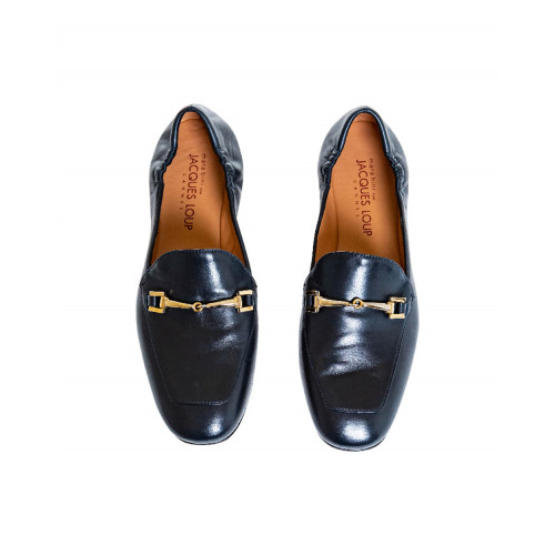 Achat Navy blue moccasins with golden metallic bit Mara Bini for women - Jacques-loup
