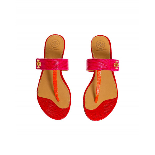 "Fuschia and red toe thong mules ""Kira"" Tory Burch for women"