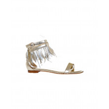 Gold colored sandals with decorative leaves Tod's for women