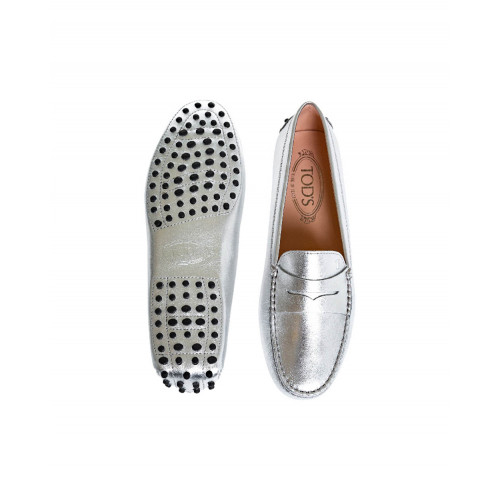 Silver moccasins with penny strap Tod's for women
