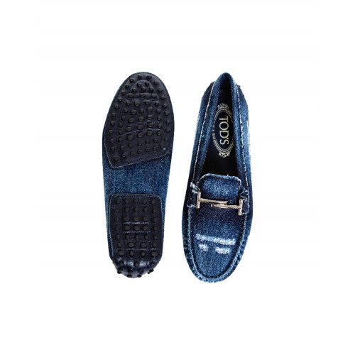 Dark blue denim moccasins with metallic bit Tod's for women