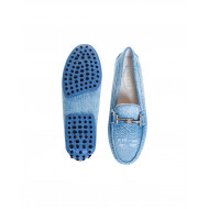Light blue denim moccasins with metallic bit Tod's for women