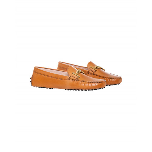 "Cognac colored moccasins ""Double T"" Tod's for women"
