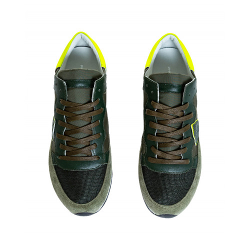 "Khaki and yellow sneakers ""Tropez"" Philippe Model for men"
