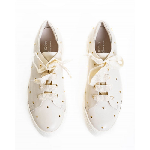 Achat Sneakers Jacques Loup ivory with golden nails for women - Jacques-loup