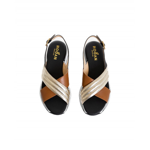 "Sandals Hogan ""222"" black/golden for women"
