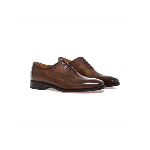 Dark brown patina brogue shoes Jacques Loup for men