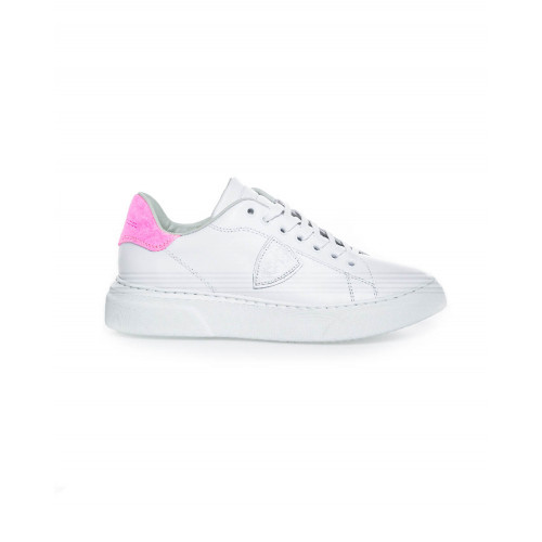 "White sneakers with fuschia counter ""Temple"" Philippe Model for women"