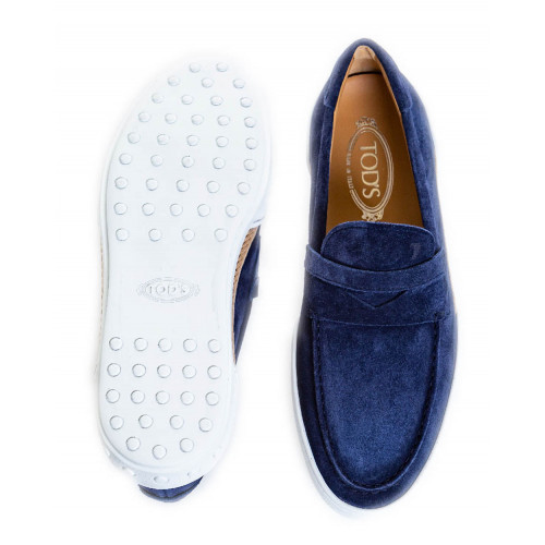 "Moccasins Tod's ""Riviera"" blue with penny strap for men"