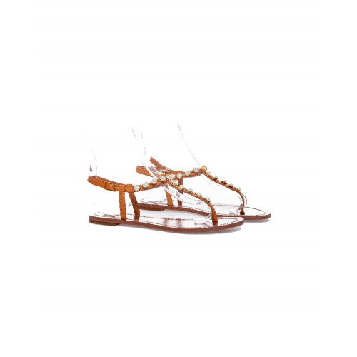 "Toe shoes ""Emmy Pearl"" Tory Burch cognac color with pearls for women"