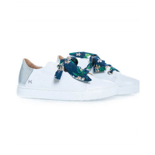 Achat Sneakers Mai Mai white with silver heel and blue tissue lacing for women - Jacques-loup