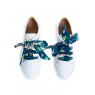 Sneakers Mai Mai white with silver heel and blue tissue lacing for women