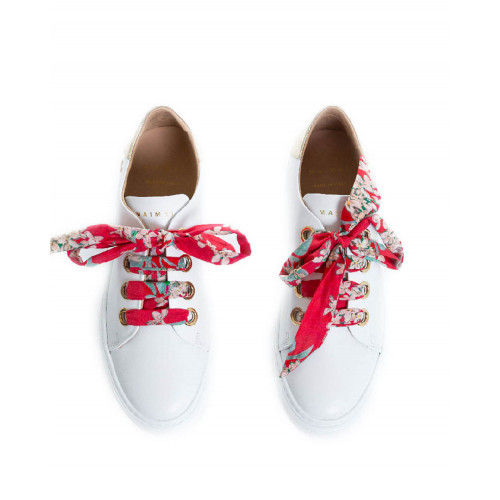 Achat Sneakers Mai Mai white with platinum heel and red tissue lacing for women - Jacques-loup