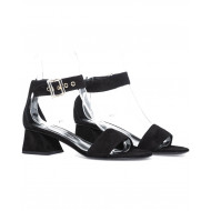 Sandal Jacques Loup black with ankle strap and 4,5cm high heel for women
