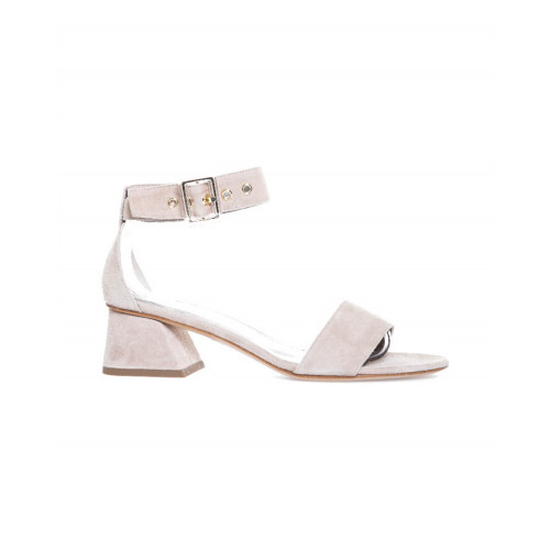 Sandal Jacques Loup beige with ankle strap and 4,5cm high heel for women