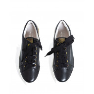 Sneakers Jacques Loup black with golden nails on the heel for women