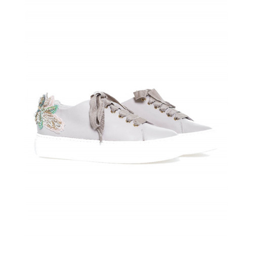Achat Sneakers Jacques Loup with embroidered flowers on the heel for women - Jacques-loup