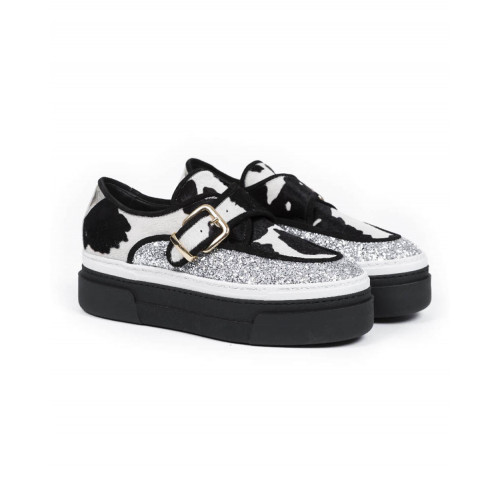 """Derby shoes with buckle Jacques Loup """"Creepers"""" black/silver white for women"""