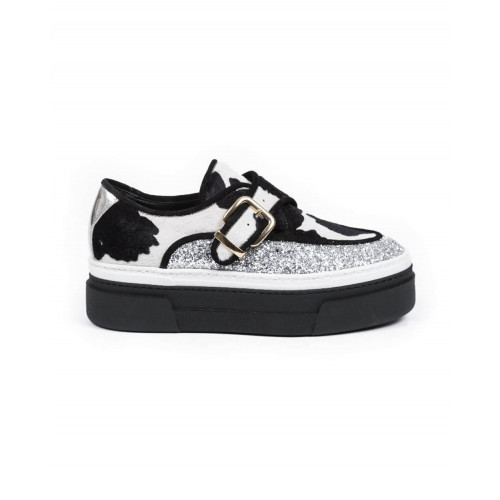 Achat Derby shoes with buckle Jacques Loup Creepers black/silver white for women - Jacques-loup