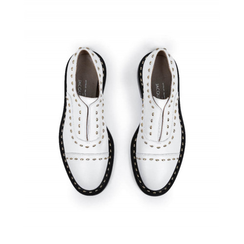 Brogues shoes with no laces Jacques Loup white for women