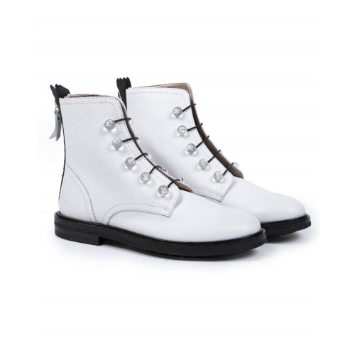 High boots with laces Jacques Loup white for women