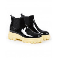 Boots Jacques loup patent black with yellow sole for women