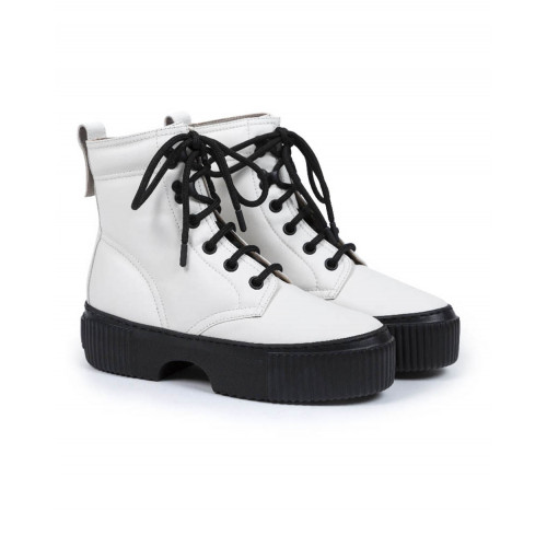 Quilted boots Jacques Loup white with black sole for women
