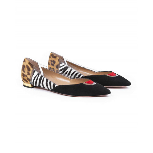 Achat Ballerinas Aquazzura black with yokes in different materials for women - Jacques-loup