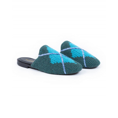 Achat Outdoor flat mule Avec Modération green with blue square for women - Jacques-loup