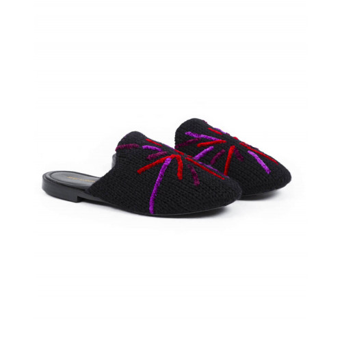 "Outdoor flat mule ""Avec Modération"" black with multicolor design for women"