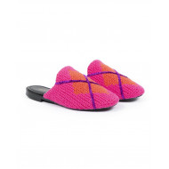 Achat Outdoor flat mule Avec Modération pink with orange square for women - Jacques-loup