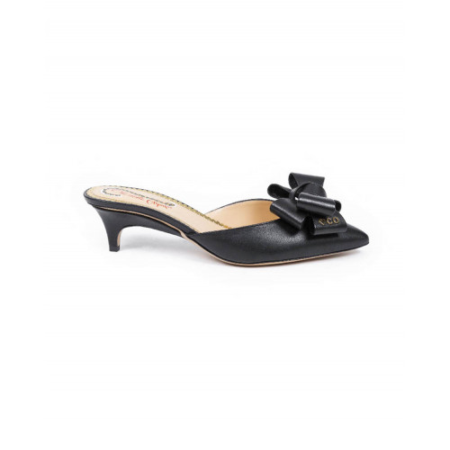 Pointed mule Charlotte Olympia black with decorative knot for women