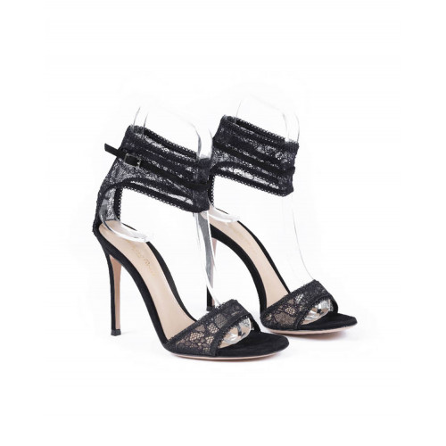 High heel sandals Gianvito Rossi black with lace for women