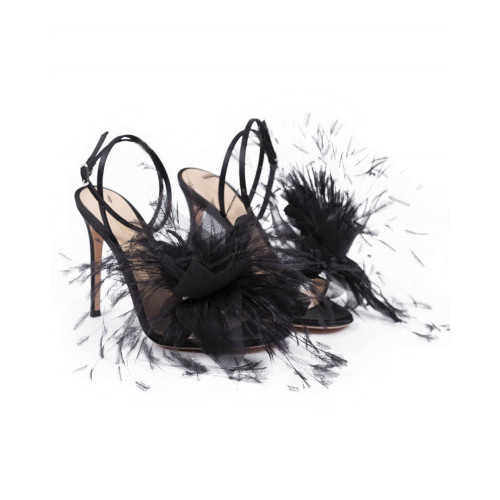 Achat High heel sandals Gianvito Rossi black with feathers for women - Jacques-loup