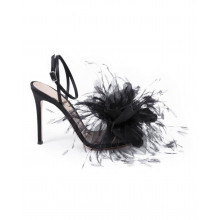 High heel sandals Gianvito Rossi black with feathers for women
