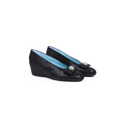 Platform shoes Thierry Rabotin black with decorative knot and Swarofsky stones for women