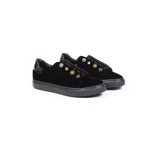 Tennis shoes Mai Mai black velvet and patent parts with buttons for women