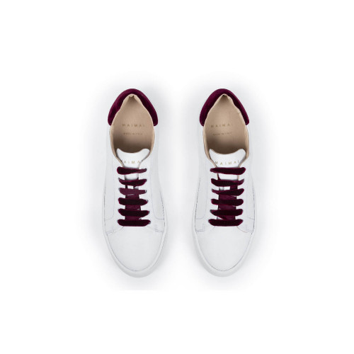 Tennis hoes Mai Mai with with bordeaux laces and bordeaux velvet buttress for women