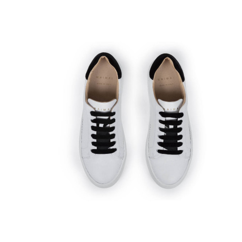 Achat Tennis shoes Mai Mai white with black laces and black velvet buttress for women - Jacques-loup